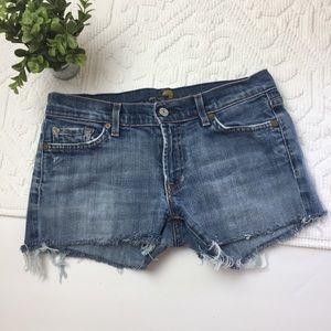 7FAM Distressed Cut Off Jean Shorts Sz. 28